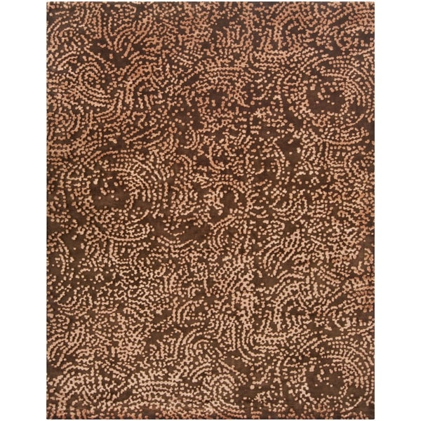 Hand-knotted Contemporary Brown/Tan Fullerton New Zealand Wool Abstract Area Rug - 8' x 11'