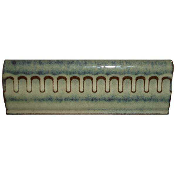 SomerTile 2x6-inch Tuscan Azure Porcelain Chair Rail Trim Tile (Pack of 8)