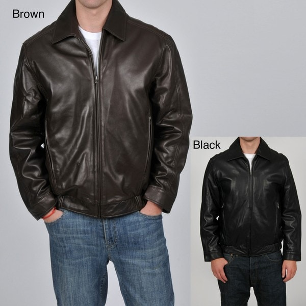 Knoles & Carter Men's Classic Leather Bomber Jacket - Free ...