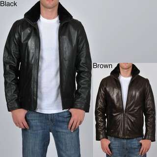 Knoles & Carter Men's Leather Stand Collar Jacket