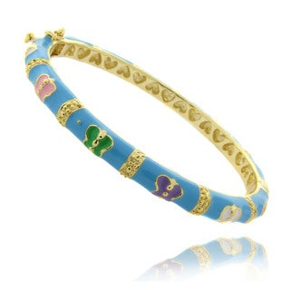 Molly and Emma 14k Gold Overlay Children's Turquoise Enamel Butterfly Bracelet