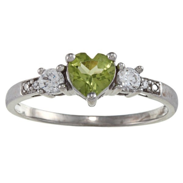 Gioelli Sterling Silver Peridot Heart Ring