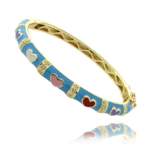 Molly and Emma 14k Gold Overlay Children's Turquoise Heart Bangle