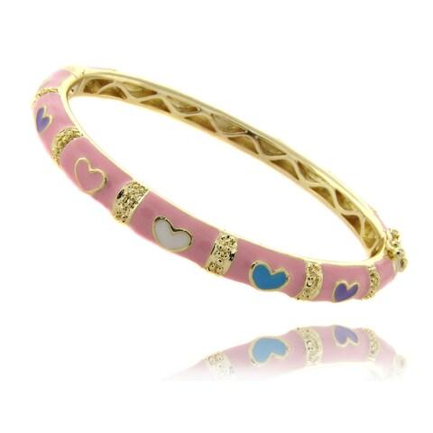 Molly and Emma 14k Gold Overlay Children's Pink Heart Bracelet