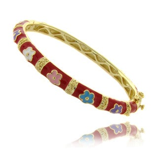 Molly and Emma Gold Overlay Children's Red Enamel Flower Bracelet
