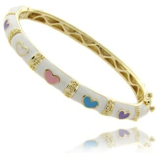 Molly and Emma 14k Gold Overlay Children's White Heart Bangle Bracelet|https://ak1.ostkcdn.com/images/products/6193789/P13843784.jpg?impolicy=medium