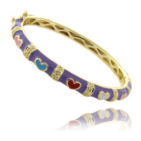 Molly and Emma 14k Gold Overlay Children's Lavender Enamel Heart Design Bangle Bracelet