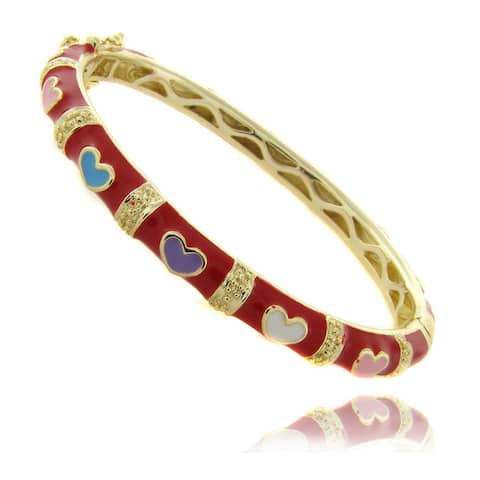 Molly and Emma 14k Gold Overlay Children's Red Heart Bracelet