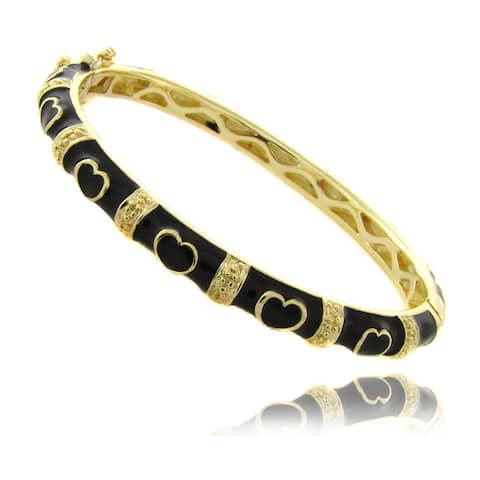 Molly and Emma 14k Gold Overlay Children's Black Heart Bracelet