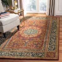 Safavieh Handmade Aubusson Bonnelles Red/ Beige Wool Rug - 3' x 5'