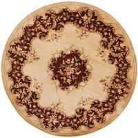 Safavieh Handmade French Bouquet Ivory/ Rust Hand-spun Wool Rug - 4' x 4' Round