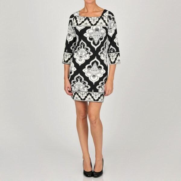 L.A. Gold Women's Black/ White Printed Dress