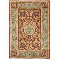 Safavieh Handmade Aubusson Bonnelles Red/ Beige Wool Rug - 2' x 3'