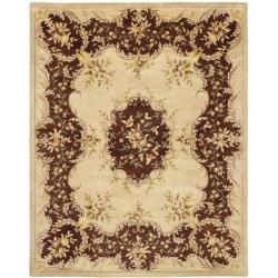 Safavieh Handmade French Bouquet Ivory/ Rust Hand-spun Wool Rug (6' x 9')