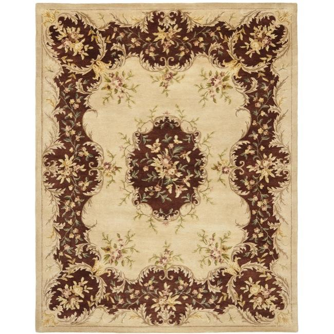 Safavieh Handmade Ivory/ Rust Hand-spun Wool Rug - 9'6 x 13'6