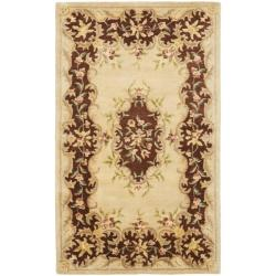 Safavieh Handmade French Bouquet Ivory/ Rust Hand-spun Wool Rug (2' x 3')