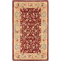 Safavieh Handmade Gardens Red/ Dark Beige Hand-spun Wool Rug - 3' x 5'
