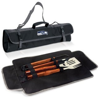 Picnic Time Seattle Seahawks 3-piece BBQ Tote - Black