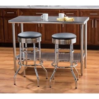 Trinity Chrome Swivel Bar Stools (Set of 2)