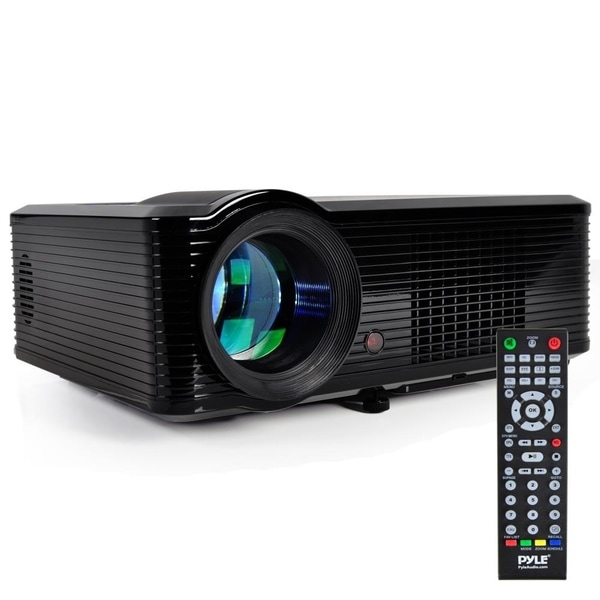 Pyle PRJLE33 Widescreen Projector 1080p HD Support Built In Speakers HDMI Inputs PiP Adjustable Viewing Screen