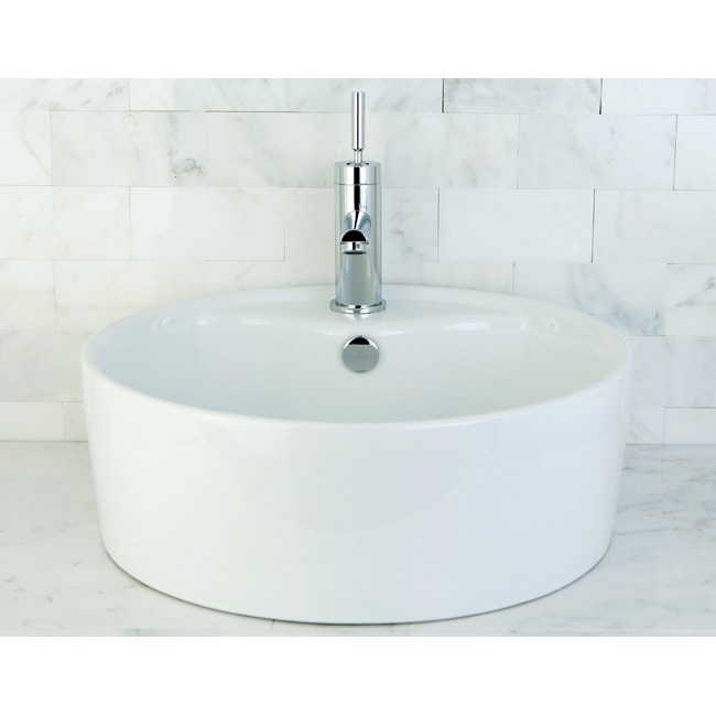round vitreous china bathroom vessel sink