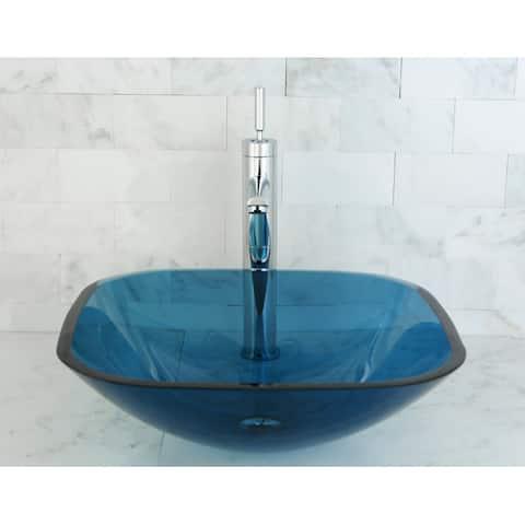 Blue Tempered Glass Vessel Bathroom Sink
