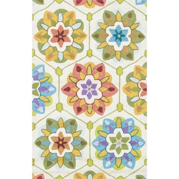 Hand-hooked Peony Ivory/ Multi Geometric Rug (3'6 x 5'6)