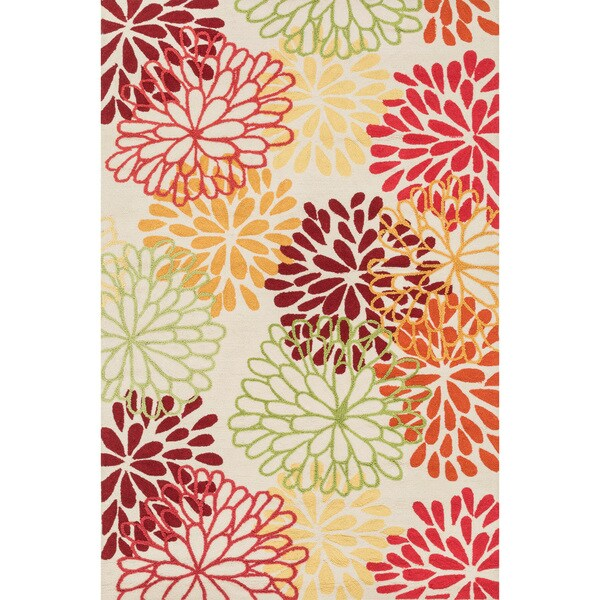 Hand-hooked Peony Multicolor Floral Rug (7'6 x 9'6)