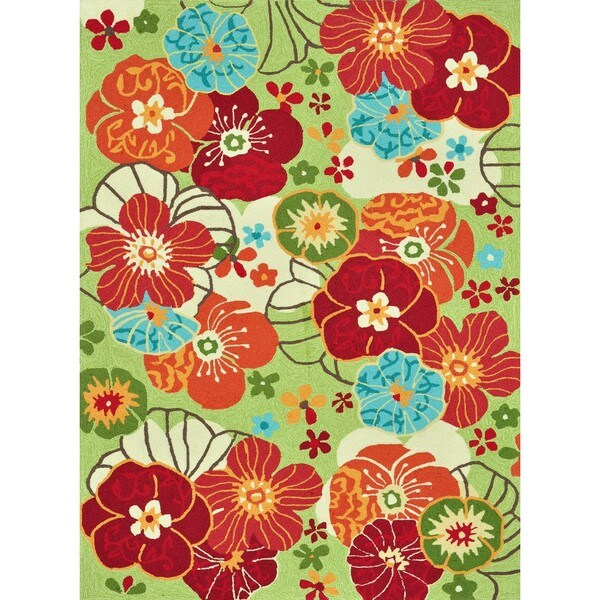 Hand-hooked Peony Apple Green Floral Rug (2'3 x 3'9)