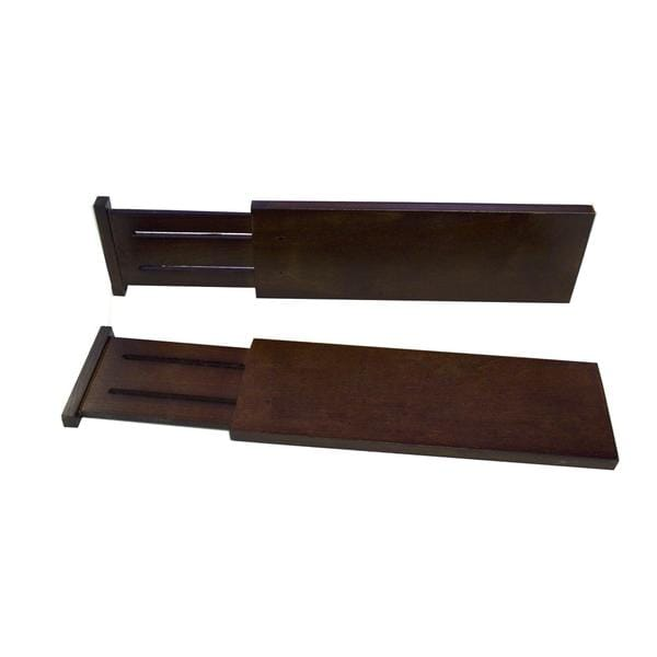 Expandable Walnut Stained Wood 2-piece Drawer Divider Set