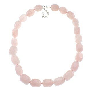 Pearlz Ocean Rose Quartz Beaded Necklace Jewelry for Womens - Pink