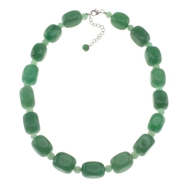 Pearlz Ocean Sterling Silver Green Aventurine Necklace