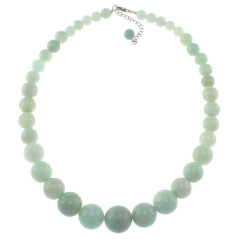 Amazonite Journey Round Beads Women Strand Necklace