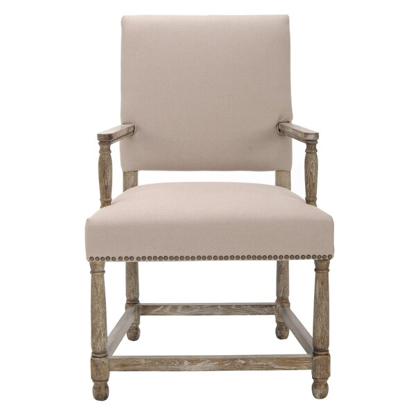 Safavieh Old World Dining Bexley Beige Linen Nailhead Arm Chair