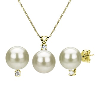 DaVonna 14k Yellow Gold 7-8mm Freshwater Pearl and Diamond Earrings Necklace Set, 18""