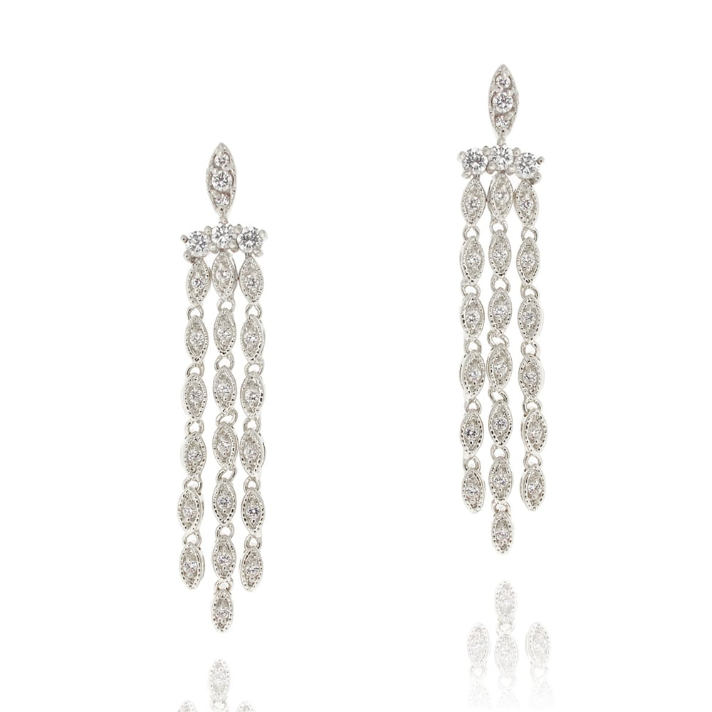 3a65471c6b3b81 Shop Icz Stonez Rhodiumplated Cubic Zirconia Chandelier Earrings - On Sale  - Free Shipping On Orders Over $45 - Overstock - 6195406
