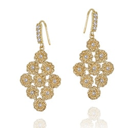 Icz Stonez 14k Yellow Goldplated Cubic Zirconia Floral Earrings