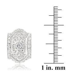 Icz Stonez Rhodiumplated Cubic Zirconia Hoop Earrings - Thumbnail 2