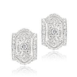 Icz Stonez Rhodiumplated Cubic Zirconia Hoop Earrings