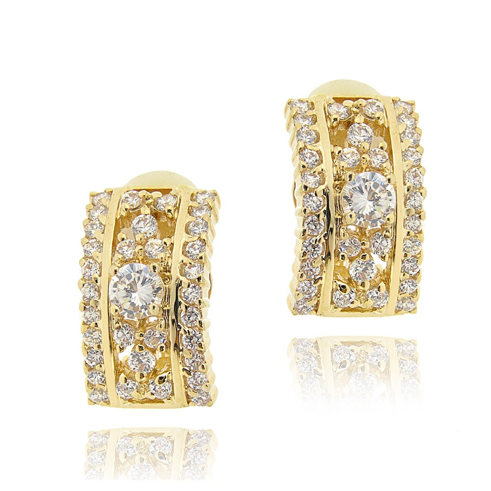 Icz Stonez 14k Yellow Goldplated Cubic Zirconia Hoop Earrings