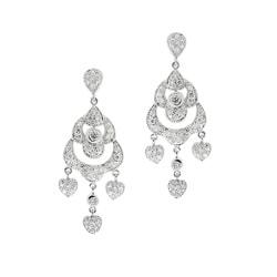 Icz Stonez Rhodiumplated Cubic Zirconia Chandelier Heart Earrings