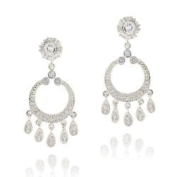 Icz Stonez Rhodiumplated Cubic Zirconia Circle Chandelier Earrings