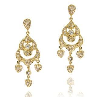 Icz Stonez 14k Yellow Goldplated Cubic Zirconia Chandelier Heart Earrings