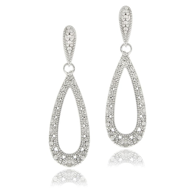Shop Db Designs Sterling Silver Diamond Accent Lace Design Teardrop