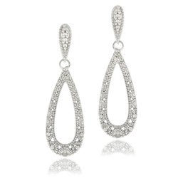 DB Designs Sterling Silver Diamond Accent Lace Design Teardrop Dangle Earrings