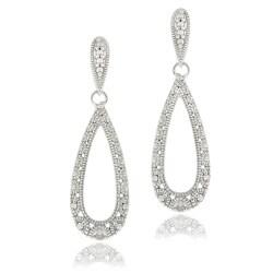 DB Designs Sterling Silver Diamond Accent Lace Design Teardrop Dangle Earrings