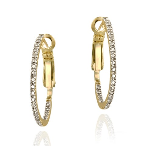 DB Designs 18k Gold over Sterling Silver Diamond Accent Inside-out Hoop Earrings