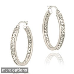 DB Designs Sterling Silver Diamond Accent Inside-out Hoop Earrings