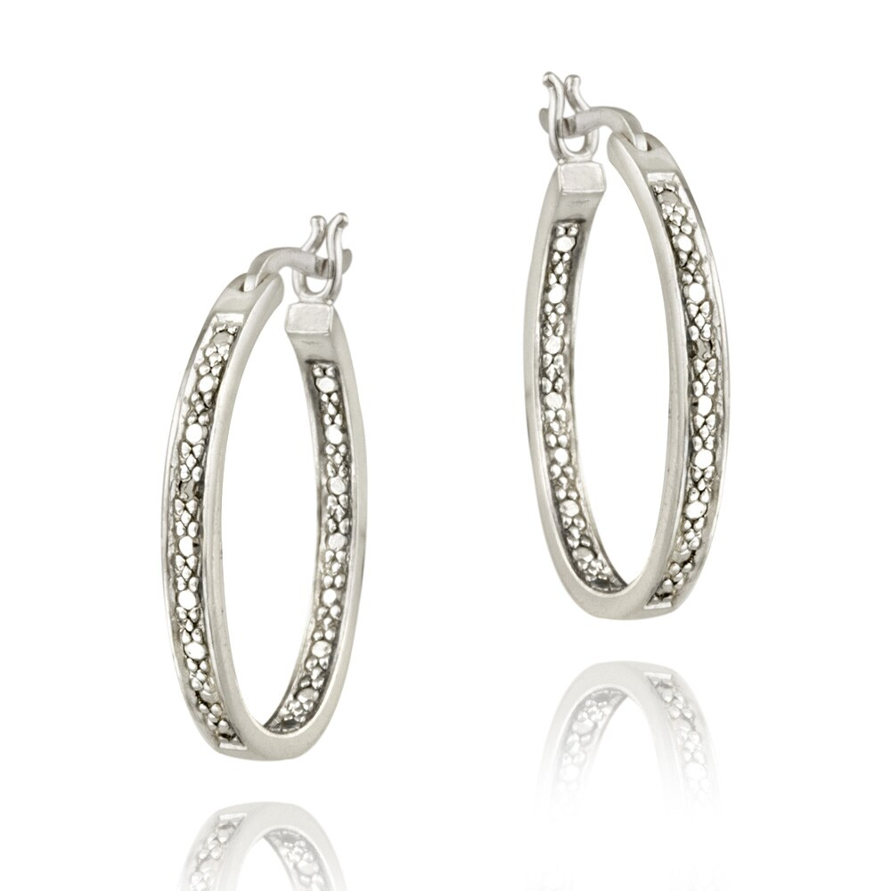 DB Designs Sterling Silver Diamond Accent Inside-out Oval Hoop Earrings