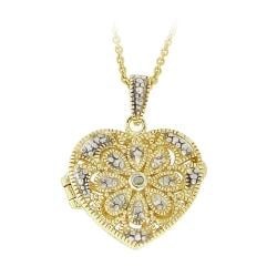 DB Designs 18k Gold over Silver Diamond Accent Flower Heart Locket Necklace